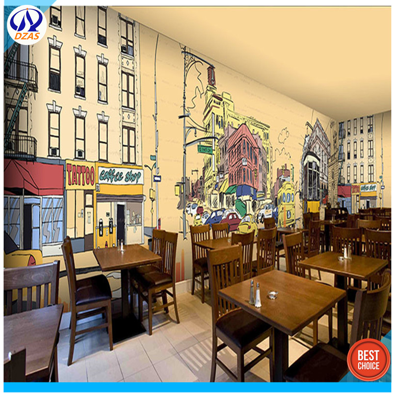 3D Graffiti Retro Architecture Theme Wallpaper Restaurant Coffee Tea Shop Hong Kong Style Culture Seamless Large Fresc In Wallpapers From Home