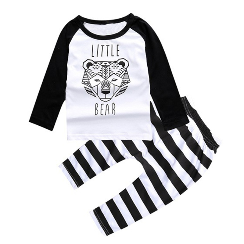 Autumn 2017 Fashion Sale Boys Clothes Set Baby Bear Printing Tops + Striped Pants 2pcs Set Newborn Baby Set Fashion Outfits