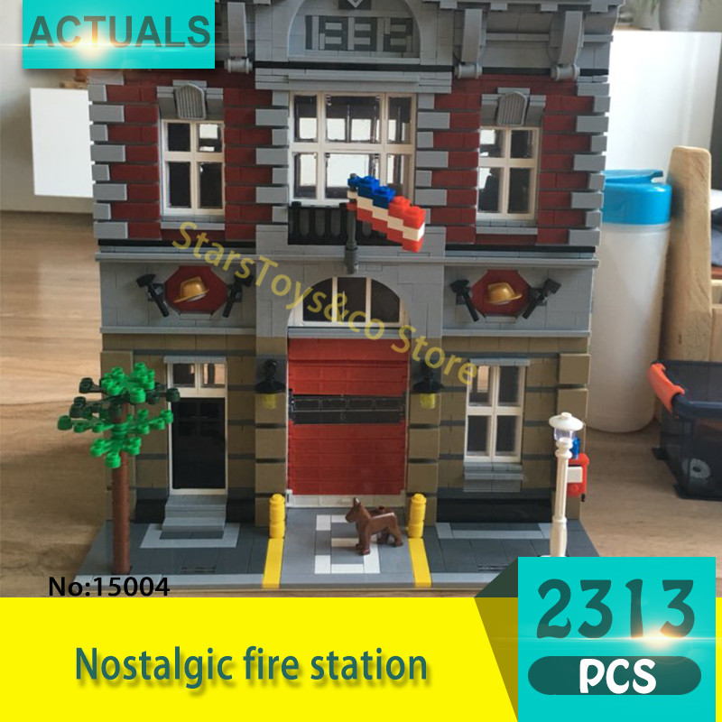 Lepin 15004 2313Pcs Street View series Nostalgic fire station Model Building Blocks Set  Bricks Toys For Children Gift 10197 lepin 15004 2313pcs city creator series fire brigade model building blocks bricks toys for children gift compatible 10197