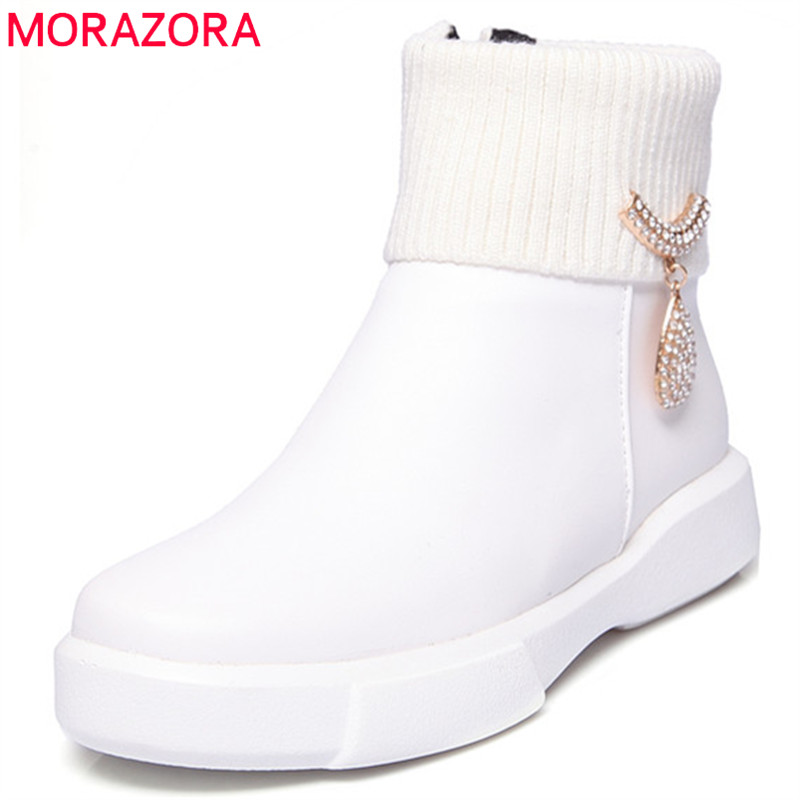 MORAZORA Metal decoration fashion boots for women in autumn round toe ankle boots PU zip solid womens boots big size 34-43 fashion pointed toe lace up mens shoes western cowboy boots big yards 46 metal decoration