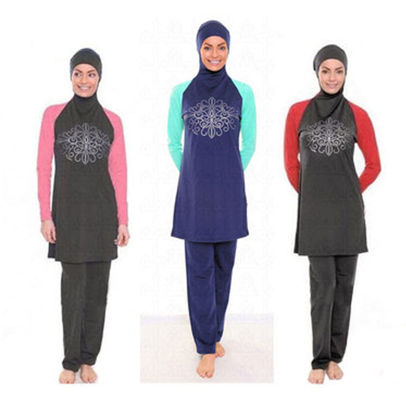 Islamic Swimsuit Long Sleeve Muslim Swimwear Plus Size Bathing Suits For Women High Elasticity S-4XL