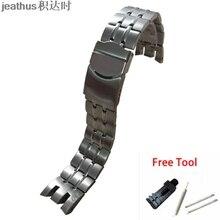 Jeathus YRS403 watchband para swatch cinta de aço de luz fria 401 402 411 413 418 407 ANOS 007 de faixa de relógio pulseira de aço inoxidável