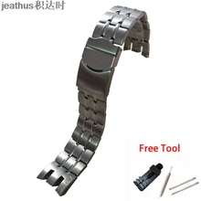Jeathus watchband for swatch steel strap  cold light YRS403 401 402 411 413 418 407 stainless steel bracelet YRS 007 watch band