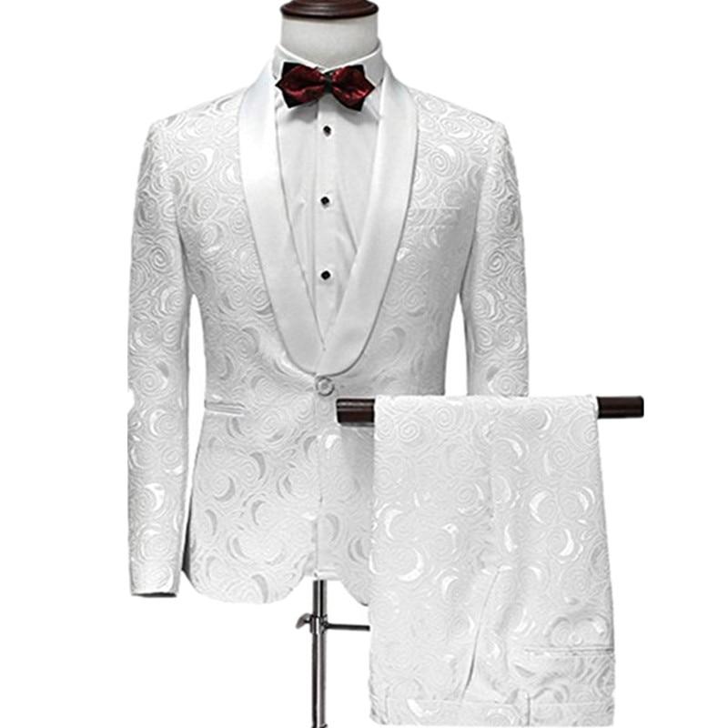 YFFUSHI Men Suit One Button 2 Pieces White Jacquard Suits with Pants Tuxedo Shawl Collar Wedding Suits for Men Party Dress