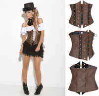 Gothic Steampunk Faux Leather Underbust Corset Bustier Brown Body Shaper Waist Belt