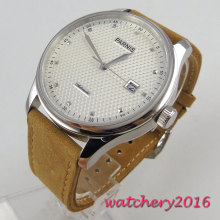 43mm parnis White Dial Polished Camel Strap Complete Calendar Newest Hot top brand Luxury Automatic Mechancial Mens Watch