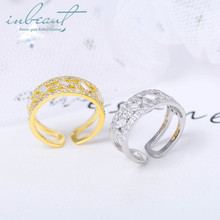 inbeaut 925 Silver White Square Zircon Ring Female Gold Royal Princess Cut Sparkling Stone Wide for Women Wedding Jewelry