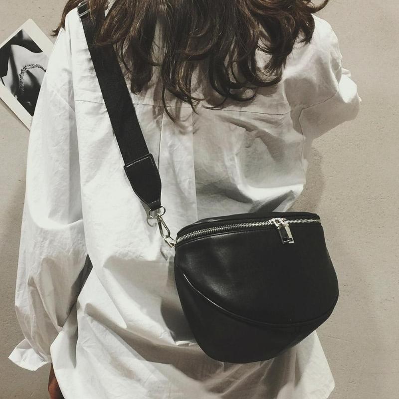 Unisex Waist Bag Women Pure Color Pattern Leather Shell Chest Bags Fanny Pack Sac Taille Ceinture Femmes Waist Bag PhoneZ70