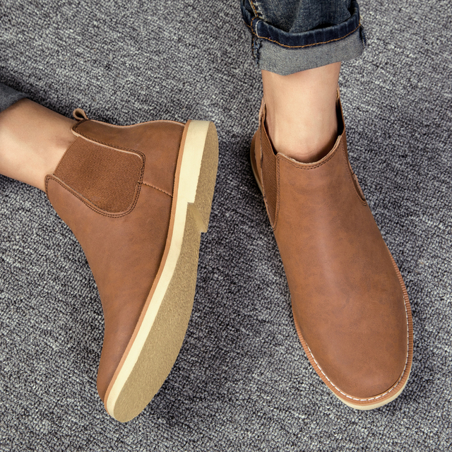 Men Boots 2018 New Winter Male Chelsea Boots for Mn Leather Ankle Boots Men Footwear Outdoor bot fashion Shoes Plus Size