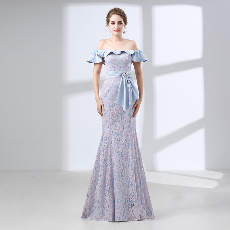 Sky Blue   Evening     Dresses   2019 Mermaid Cap Sleeves Lace Sexy Formal Women Long   Evening   Gown Prom   Dresses   Robe De Soiree