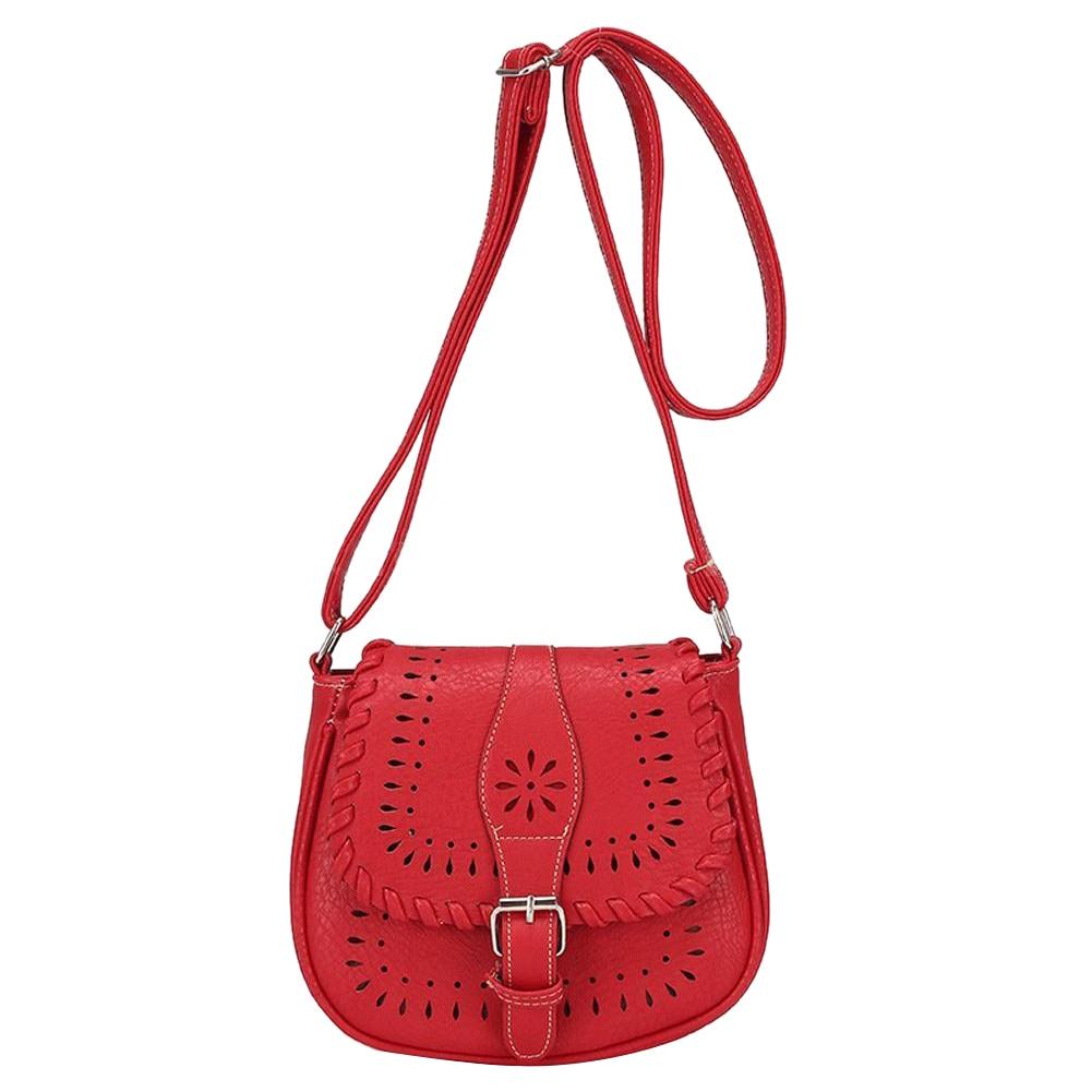 Для женщин Мода ретро полый сумка через плечо красная
