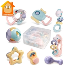 9PCS Baby Rattles Toys Animal Teether Music Hand Shake Bed B