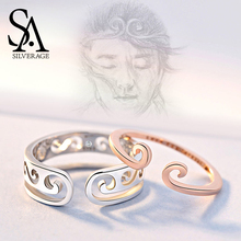 SA SILVERAGE Authentic 925 Sterling Silver Rose Gold/Silver Color Couple Ring Two Rings Wedding Adjustable