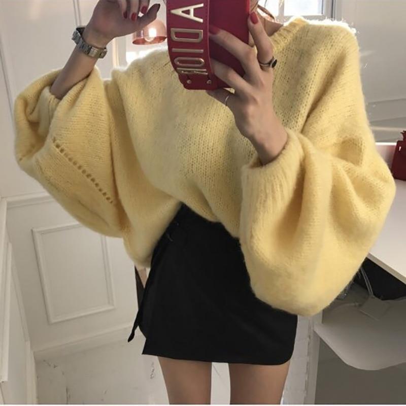 Dame Surmenage Grand Code 2018 cou Pull Pulls Coton O Nouvelle Lourd Automne Hiver D'urgence Lâche Femmes Et Lavande Transporté Chandail Chandails jaune qUxSA6w