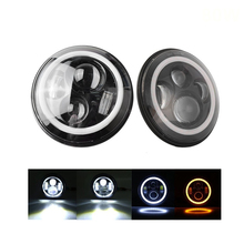 цена на ECAHAYAKU 7 inch Round LED Head lamp 80W Car Headlights H4 H13 For Jeep Wrangler Jungle Land Rover Defender Lada Toyota Mazda