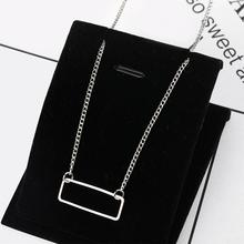imixlot Simple Geometric Pendent Necklace for Women Fashion Wild Necklace Open Square Choker Necklace Statement Jewelry charming faux leather square choker necklace for women