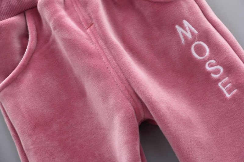 Winter Mädchen Kleidung Sets Samt maus Lange Ärmeln hoody + hosen Sport Anzüge Neue jahr kostüme Warme Kinder Kleidung Kinder anzug