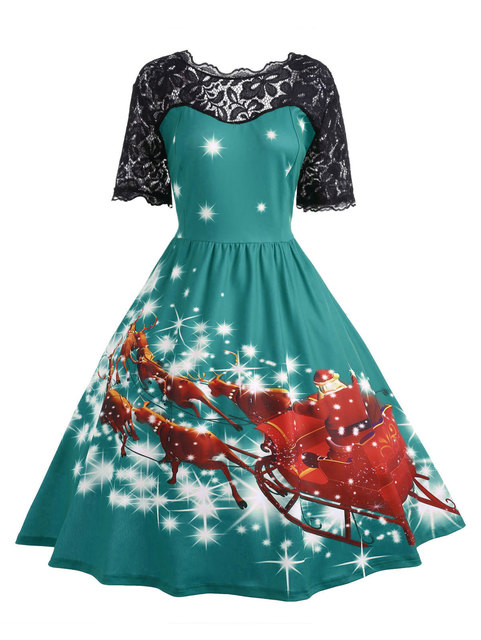 Wipalo Women Christmas Lace Panel Father Midi Party Dress Ladies Autumn Vintage Insert Robe Femme Plus Size 5XL 4XL Vestidos