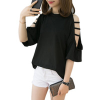 New Summer T Shirt Women Five Point Sleeve Hollow Hole Strapless Short Sleeved Tees Fashion Solid Color Korean Loose Tops Lj430