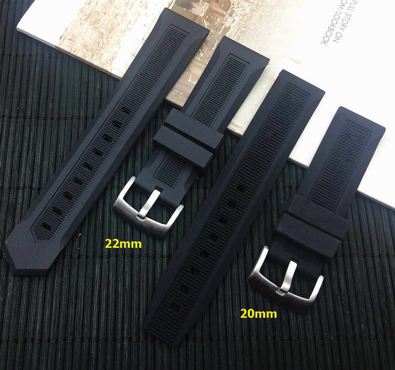 Luxury men black watchband 20mm 22mm silicone rubber watch band belt For TAG strap CARRER for Heuer buckle DRIVE TIMER