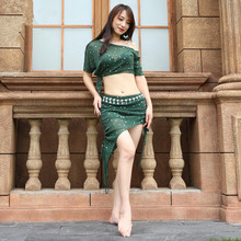 2019 New Professional Design Adult Team Practice Dance Wear 2 Piece Sexy Belly Dance Comfortable Costume mesh Clothing