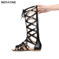 Hot Shoes Women Knee High Gladiator Sandals Hollow Out Large Size 34 43 PU Leather Summer