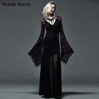 Панк рейв Готический стиль стекаются темно фиолетовый с длинным ведьма платье с flare рукава для Хэллоуина q 265