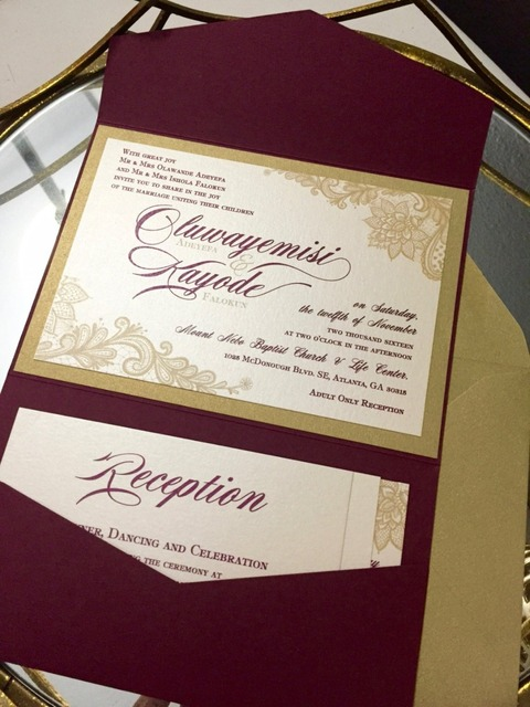 Gold Burgundy Pocket Wedding Invitation Marsala Lace Pocket Invite