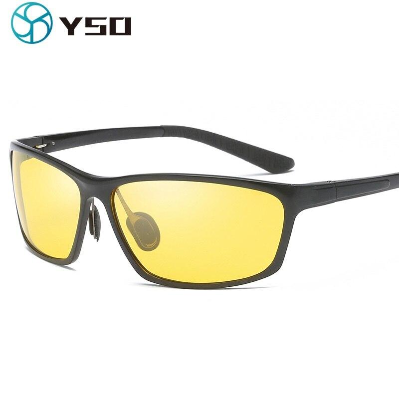 YSO Homens Óculos de Visão Noturna de Alumínio E Magnésio Frame Polarized Óculos de Visão Noturna Para A Condução Do Carro Anti Brilho Vidros 2179