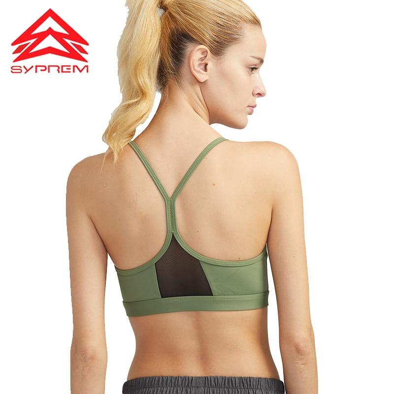 ①  SYPREM Спортивный бюстгальтер с сеткой для шитья Женский спортивный бюстгальтер Girl Fitness Top Yog ✔