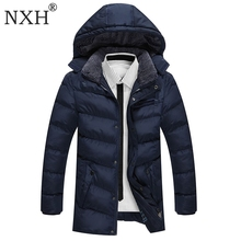 NXH 2017 New Arrival Mens Winter Thick Casual coat Zipper Solid Warm Double Pockets Men Parka High Quality Brand Jacket