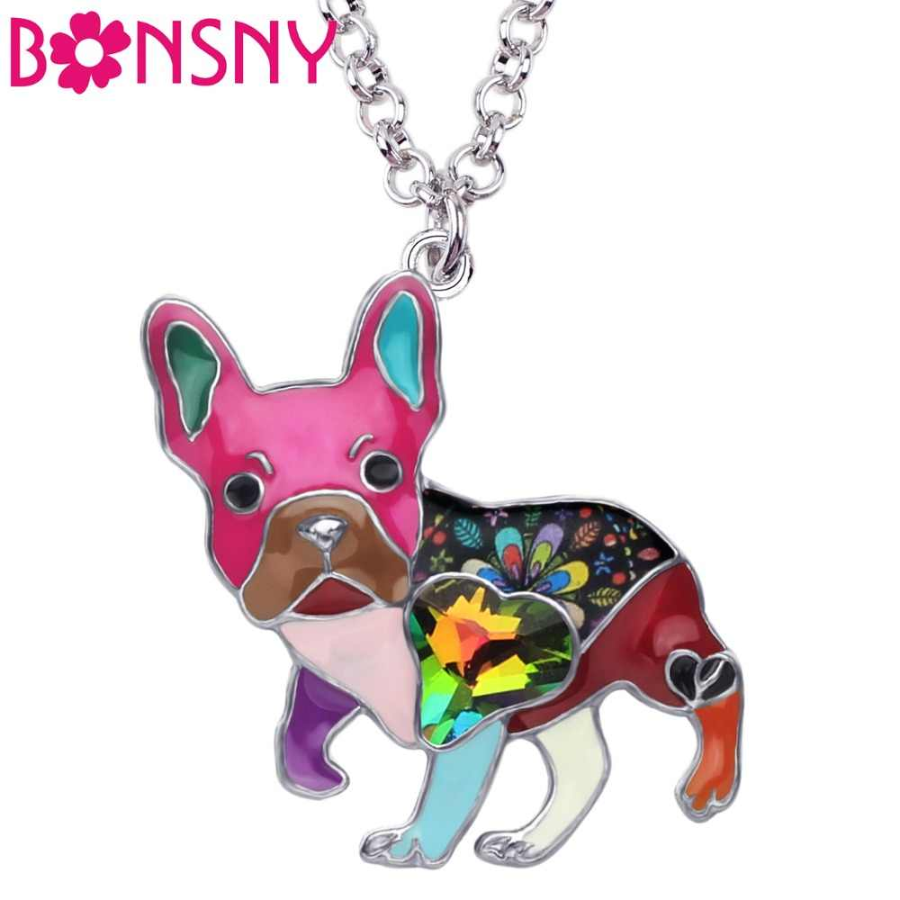 Bonsny Enamel Alloy Crystal Rhinestone French Bulldog Pug Dog Necklace Pendant Collier Animal Pets Jewelry For Women Girls Gift