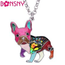 Bonsny Enamel Alloy Crystal Rhinestone French Bulldog Pug Dog Necklace Pendant Collier Animal Pets Jewelry For Women Girls Gift(China)
