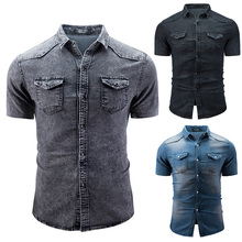 3 Colors Short Sleeved Men Tops Summer Casual Men Shirt  Turn Down Collar Denim Man Shirt Solid Fashion Denim Male Clothes D40 недорого