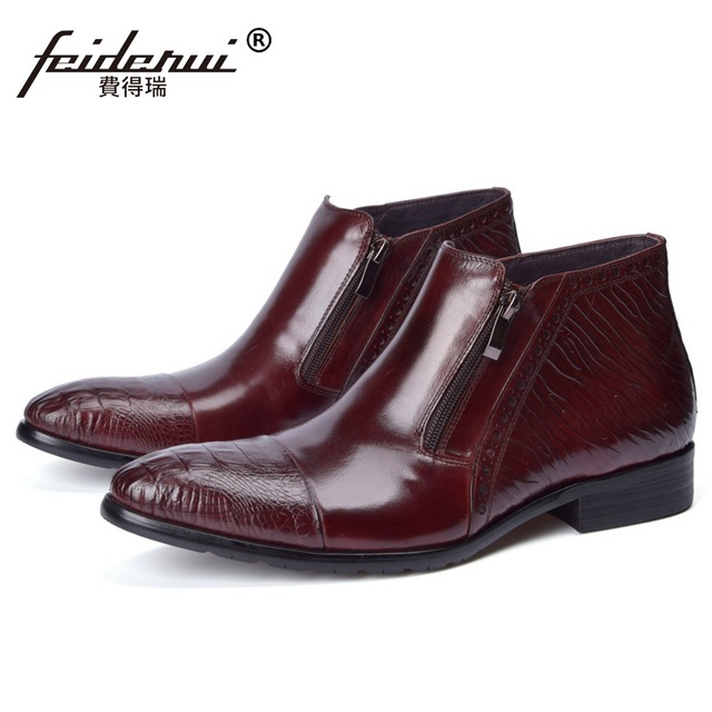 Luxury Famous Cap Top Man High Top Office Shoes Vintage Genuine
