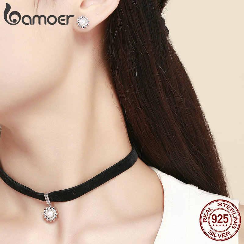 BAMOER Daisy collier ras du cou pour femmes noir soie court tour de cou perle fleur boucles d'oreilles argent 925 bijoux Style coréen bijoux