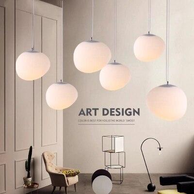 Nordic Pendant Lights LED Pendant Lamps Round Globe Glass Hanglamp For Living Room Bedroom Luminaria Kitchen Light Fixtures