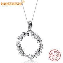 Подходит к оригинальному браслету Pandora, бусины из стерлингового серебра 925, ожерелье, прозрачный циркон для женщин, подвеска, серьги, сделай сам, ювелирное изделие, воротник