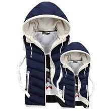 4XL Plus Size Lover's Vest 2018 Winter Men Sleeveless Vest Jacket Coat Male Hooded Vests Cotton Padded Jacket Femme Waistcoat