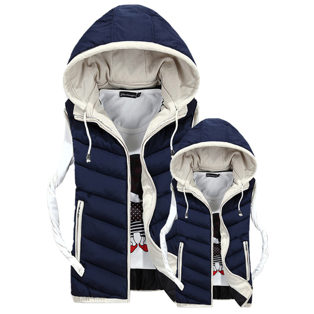 Plus Size Lover's Vest Winter Men Sleeveless Vest Jacket Coat 2016 Male Hooded Vests Cotton Padded Jacket Man Waistcoat