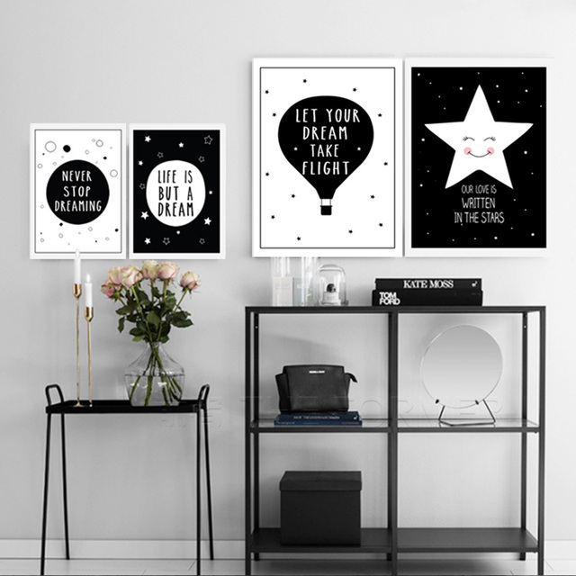Nordic minimalist black white quotes art canvas painting poster prints nursery home decor wall for kids