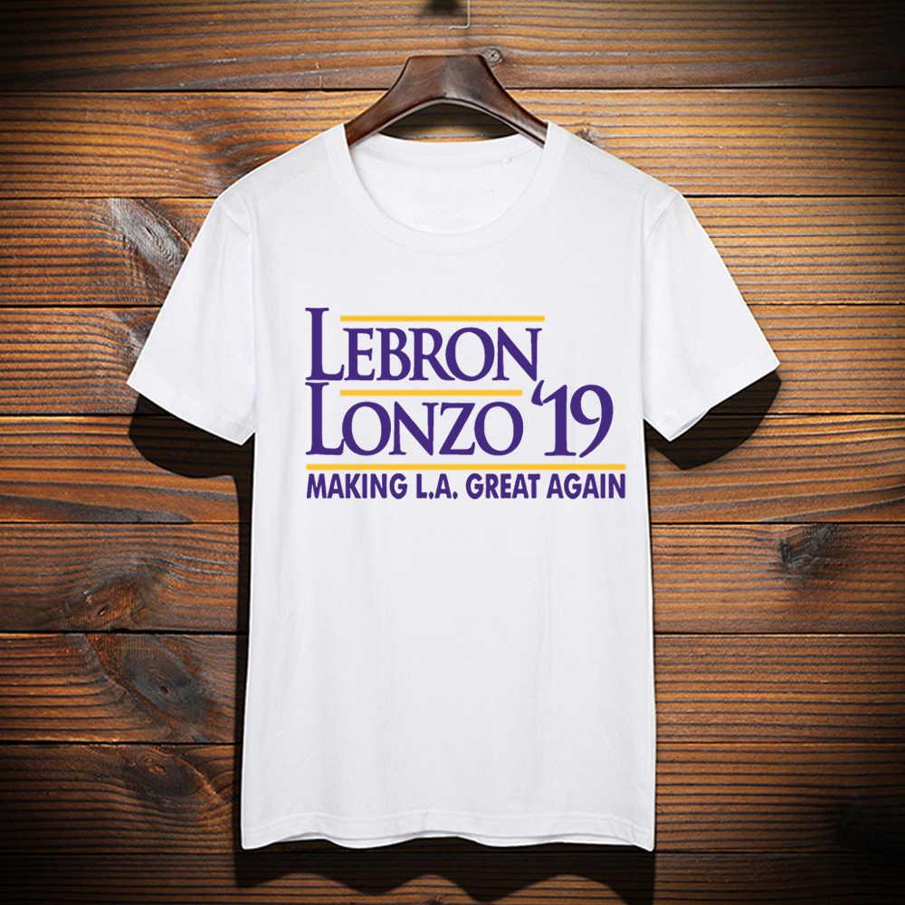 wholesale dealer 2c3e1 cf2cc New Custom Made LeBron shirt LeBron Lonzo Make Los Angeles Great Again  tshirt LeBron James LA Lakers Graphic T-Shirt Top Tees