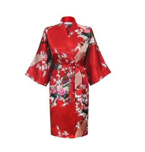 Promotion Green Chinese Womens Silk Rayon Bathrobe Yukata Gown Flower &Peacock Pattern Nightgown Size S M L XL XXL XXXL