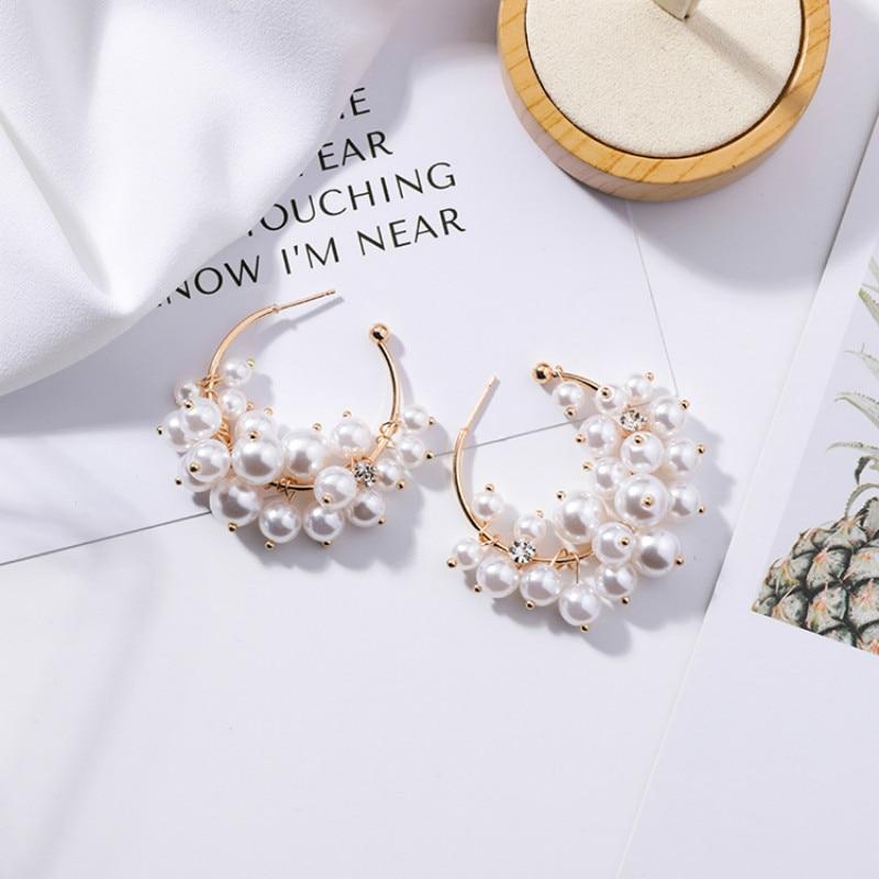 Apprehensive Shifeel 2019 Korea New Fashion Pearl Grape Bunch Rhinestone Tassels Drop Earrings Hyperbole Personality Pendients For Women Drop Earrings Earrings