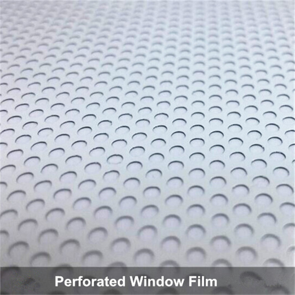 1.37m x 3m Perforated One Way Vision White Print Media Vinyl Window Decal Sticker Car Window Decor crazy pit bull lady apbt dog vinyl window decal dog sticker