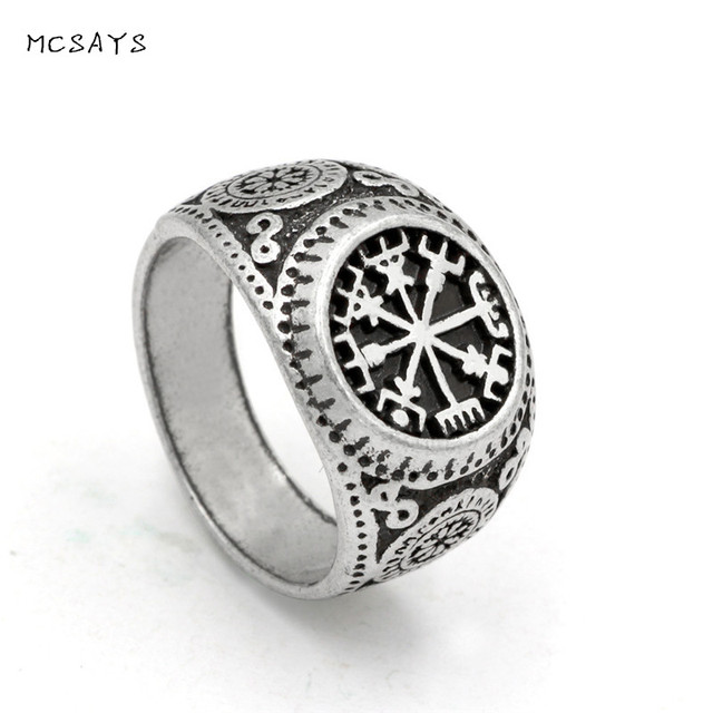 MCSAYS Norse Viking Jewelry Amulet Rune Retro Pattern Ring Mens