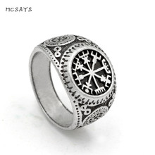 MCSAYS Norse Viking Jewelry  Amulet Rune Retro Pattern Ring Mens Amulet Vintage Finger Rings Dope Gifts 1SL