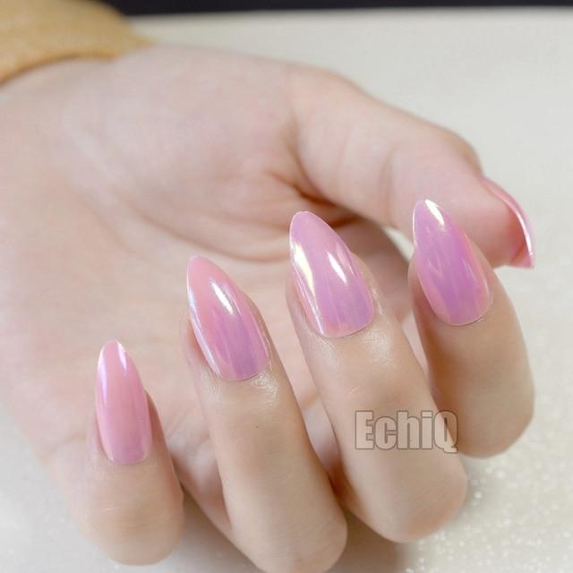 24pcs/kit Pink Full Fake Nail Tips Almond Shape Holographic Medium ...