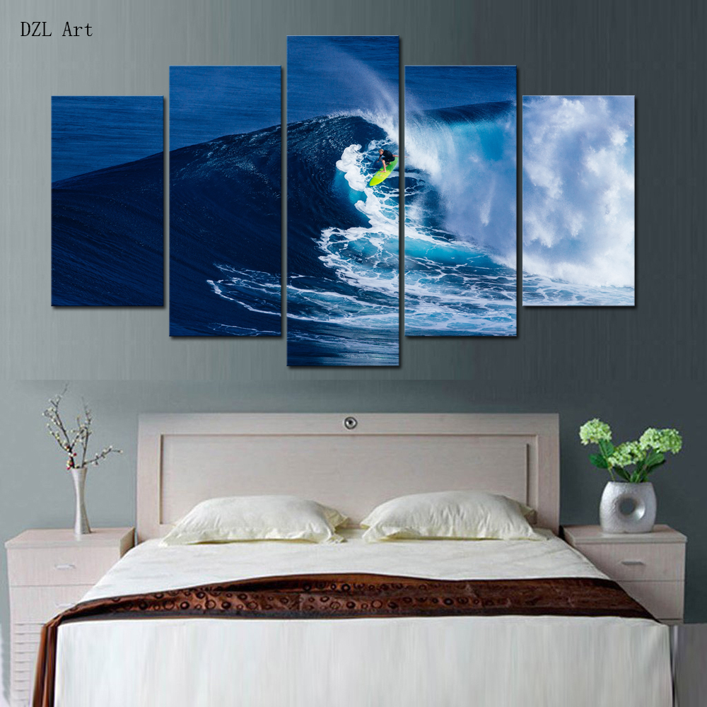 compare prices on surf wall art online shopping buy low price drop shipping 5 sets panels surf print on canvas large canvas painting for bedroom wall