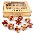 3D Деревянные Головоломки IQ Логические Блокировка Burr Пазлы Игры Игрушки для Взрослых и Детей, Классическая Деревянная Kongming Замки 9 Шт./компл.